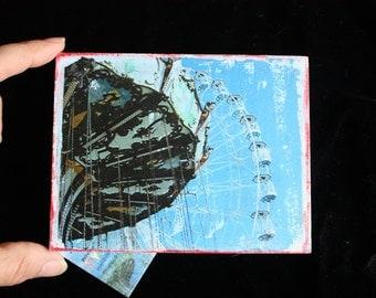 Ocean City Swing-  A 4 x 5 Original Mixed Media Miniature