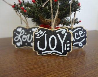 4 BLANK Chalkboard Christmas Ornaments, Christmas Tags, Christmas Stocking Labels - Set of 4- Stocking Stuffer, Gifts under 15, Hostess Gift
