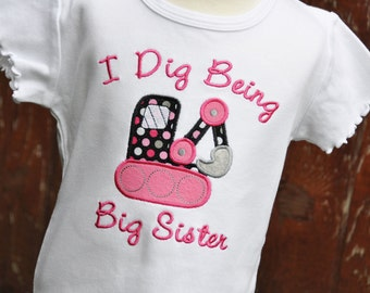 Personalized Big Sister Backhoe Girls Ruffle Shirt / I Dig Being Big Sister