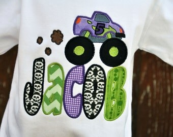 Personalized Monster Truck with Name Applique Kids Birthday Shirt / Skulls Purple Green