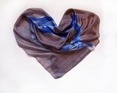 Hand painted silk scarf Blue leaves/ Long silk scarf/ Painted silk scarf/ Chocolate scarf/ Large fashion scarf/ Silk painting by Dimo OOAK