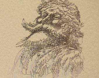 Santa Claus Lithograph 78/500 Kline Signed Drawing Drawn entirely from the words SEASON'S GREETINGS