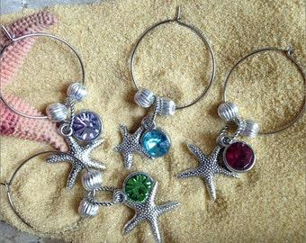 Starfish Wine Charms, Beach, Beach Wedding Wine Charms, Wine Markers, Starfish, Set of 4