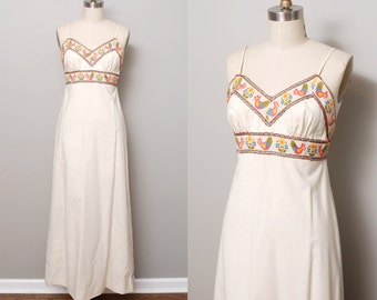 1970s Maxi Dress - Mexican Raw Cotton Embroidered Sun Dress and Jacket