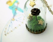 the little prince's rose necklace. story domes, glass terrarium with moss and stars