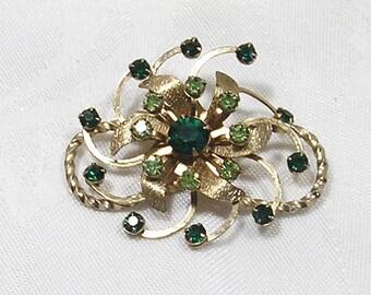 Brooch Atomic Green Gold Flower Floral Starburst Vintage