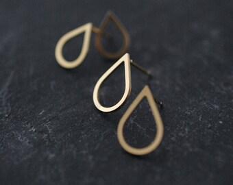 Big droplette solid silver or vermeil studs earrings