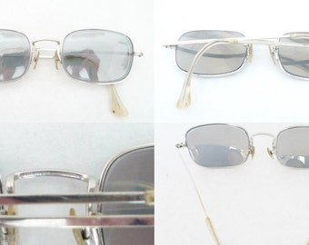 Vintage 60s White Gold Janis Joplin Eyeglass Frames / Chromey Rectangular Shuron Sunglasses/ USA/ Prescription Quality