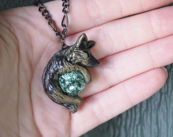 Side Striped Jackal Necklace Pendant Polymer Clay