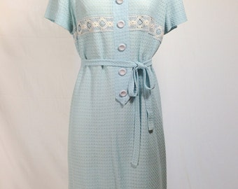 60s Amy Adams Knit Dress - Icy Blue with Crochet Detail
