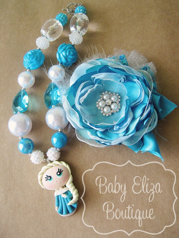 Elsa chunky necklace and hairpiece set