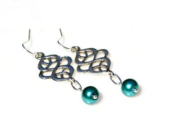 Outlander Claire Earrings Pearl Earrings Feminine Earrings Romantic Celtic Love Knot Earrings Scottish Irish Jewelry Classic Style Mei Faith