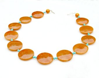 Statement Necklace Chunky Jade Necklace Warm Honey Orange Faceted Gem Jewelry High Fashion Boho Chic Signature Couture Style Mei Faith