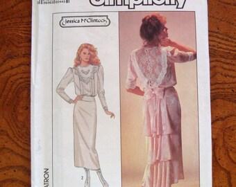 Vintage 1987 Jessica McClintock Dress Pattern by Simplicity 8224 Size 8 UNCUT