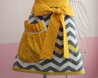 Towel Waist Apron -  Grey Chevron/Yellow Dot