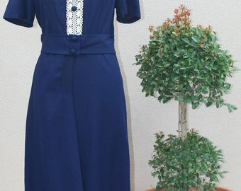70s Vintage Dress - Blue Dress -  1970's Navy Blue Dress with Ivory Crochet Front Detail - Casual Dress Classic and Traditional - 38 Bust