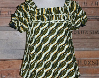 "Tribal Top - African Inspired Swing Blouse - Swing Top - Bold Pattern Shirt - Easy Wear Blouse - Free Flowing Top - Up to 40"" Bust"
