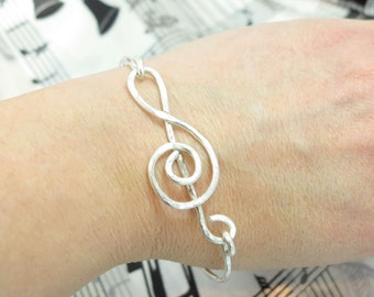 Treble Clef Bracelet,  Musical Note Bangle Bracelet, Gift for Musician, Music gift, orchestra gift