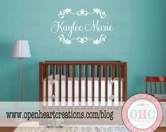 Girl Name Wall Decals - Personalized Baby Shabby Chic Nursery Vinyl Wall Decal with Initial Name and Heart Accents 22h x 36w FN0318