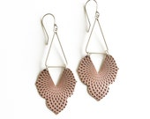 """Old world meets modern and geometric in these unique earrings, embossed copper shape paired with a silver triangle - """"Alhambra Earrings"""""""