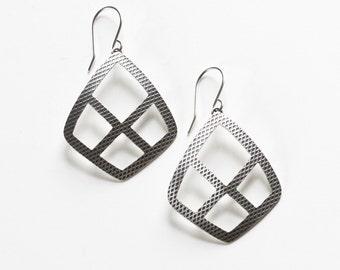"Lightweight silver earrings in a diamond shape with cutouts and a modern geometric pattern - ""Arcadian Earrings"""
