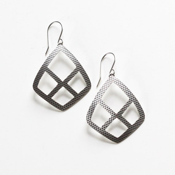 "Lightweight silver earrings in a diamond shape with cutouts and a modern geometric pattern - ""Arcadian Earrings"""
