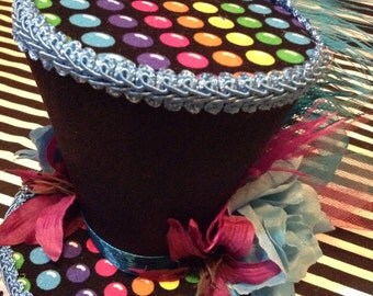 Rainbow Gum Drops and Black Mini Top Hat Fascinator