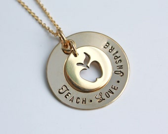 Gold Teacher Necklace - Gift For Teacher - Teach Love Inspire - Gold Apple Necklace - Gift From Students - Teacher Necklace - Back To School