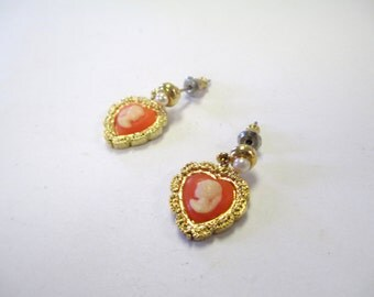 Vintage 70's Cameo and Pearl Heart Dangle Earrings DEADSTOCK