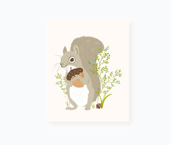 squirrel wall art - woodland nursery decor for kids