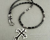 Black Onyx Cut-out Double Cross Pendant Necklace for Men, Stainless Steel, Cross Jewelry for Men, Guys, Him, Biker, Musician, Rocker