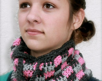 drawstring hat or neckwarmer convertible cowl cap beanie gray and pink