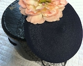 Navy Blue Straw Upcycled Vintage Pillbox Hat with Large Silk Peony and Grosgrain Ribbon for Summer Special Occasion Party