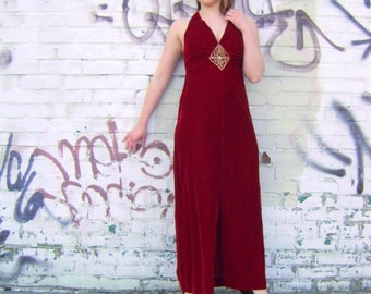 Red velvet evening gown