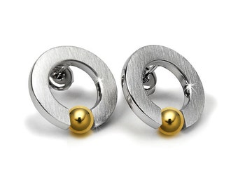 Stainless Steel and Gold Tension Earrings