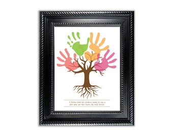 Tree Child's Handprint Art Poster for kids art project - Digital - Instant download