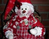 Snowman Christmas Folk Art Primitive Cloth Doll