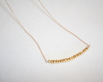Delicate gold layering necklace. Bar necklace. Minimalist. Short. Pyrite Necklace on Gold Filled Chain. Everyday. Bridesmaid. Gift. Dainty
