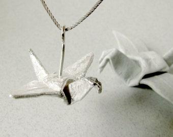 Origami Jewelry Silver Crane Pendant Origami Crane Origami Bird