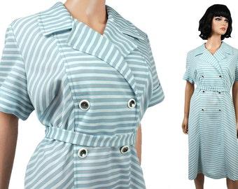 Vintage Disco Dress XL 70s Gray Blue White Striped Chevron Silver Button Plus Sz Free US Shipping