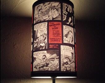 "Comics Lamp Shade Lampshade ""Comic Strip"" -  Lighting, Comic book decor, geekery, dorm room decor, gift for a geek, comics, Spooky Shades"
