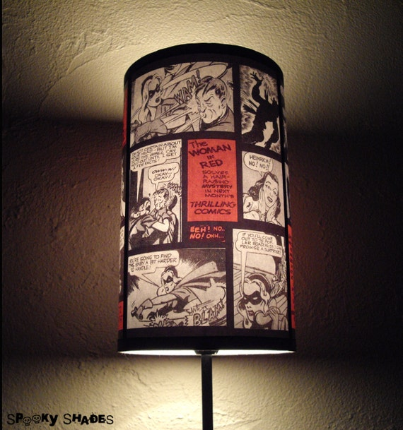"Comics Lamp Shade Lampshade ""Comic Strip"" -  Lighting, Comic book decor, geekery, dorm room decor, gift for a geek, comics, Spooky Shades"