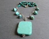 "Chunky Turquoise Gemstone Necklace, Sterling Silver, Large Statement Pendant, December Birthstone, Southwest, One of a Kind, ""Surmount"""