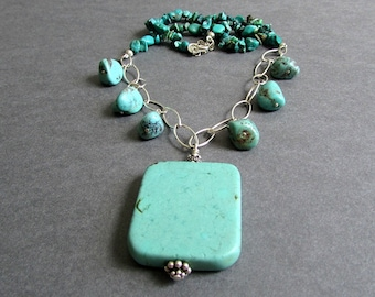 """Chunky Turquoise Gemstone Necklace, Sterling Silver, Large Statement Pendant, December Birthstone, Southwest, One of a Kind, """"Surmount"""""""