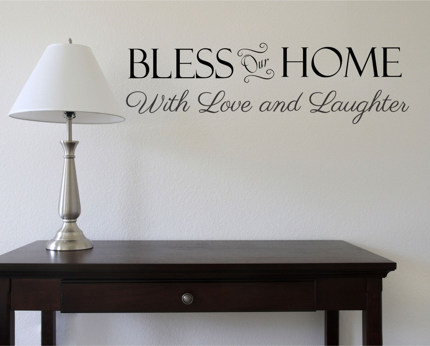 bless our home family wall decal christian decals by decordesigns. Black Bedroom Furniture Sets. Home Design Ideas