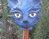 Clearance Royal Blue Fluffy Kitty head garden art stake sculpture- sale seconds blue cat garden stake