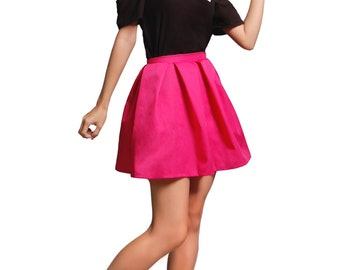 Pleated Skirt Pink, Pink Knee Length Skirt, Pink Mini Skirt, Pink High Waisted Skirt, Pink Puffy Skirt, Pink Preppy Skirt, Pink Party Skirt