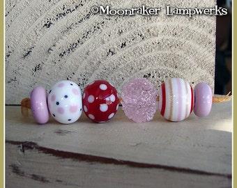 Valentine Pink Rounds Lampwork Bead Set
