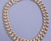 MONET Vintage Gold Textured Link Signed Necklace