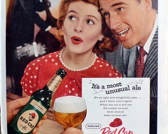1958 ad Red Cap Ale singing couple beer vintage breweriana Miss Clairol on reverse Mad Men era retro decor for framing - Free U.S. shipping